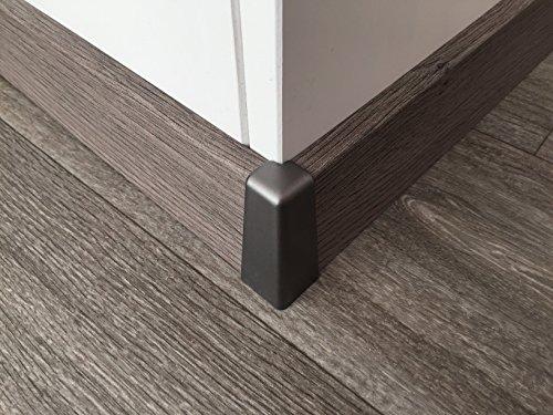 Außenecke für Sockelleisten mit Profil HR66 | Edelstahl-look 2 Stück | Eckstück passend zu MDF-Leisten in verschiedenen Dekoren | Fußbodenleisten-ecke außen silber-metallig, Verbindungs-stück
