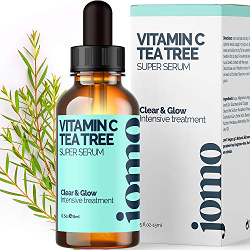 Vitamin C & 100% Pure Tea Tree Oil, Invisible Acne Spot Treatment Serum to Clear Face & Body Severe Acne Cystic Acne - Great Makeup Primer - Beard-Friendly (0.5oz)