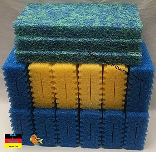Steppan 12 Stück Filterschwämme 8 x blau und 4 x gelb -Plus- 3 Stück Biomatten passend für SunSun CBF 350 C Bio. Auch passend für Osaga, Pondlife, Atlantis und OTF.