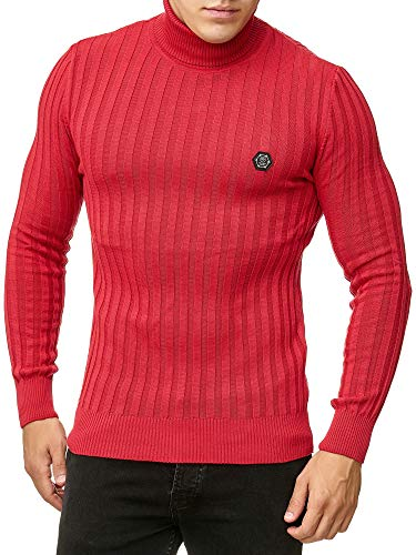 Suéter de Cuello de Tortuga para Hombres Jersey de Punto Acanalado Rojo XXL