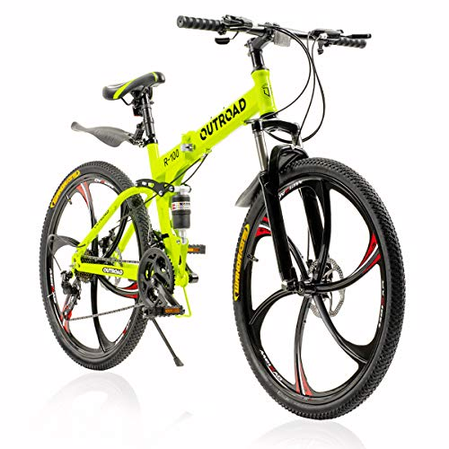 PanAme Folding Mountain Bikes, 21 Speed Shining SYS Double Disc Brake, Full Suspension 6-Spoke 26 Inches Anti-Slip Bicycle for Man/Woman/Teen, Green…