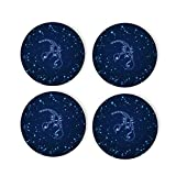 Blue Scorpio Constellation Coasters 4 Pcs Round Cups Mugs Place Mats Modern Ceramic Coasters Decor for Drinks Bar Wooden CoffeeTable Cork Base Decorative Coasters for Housewarming, 4'