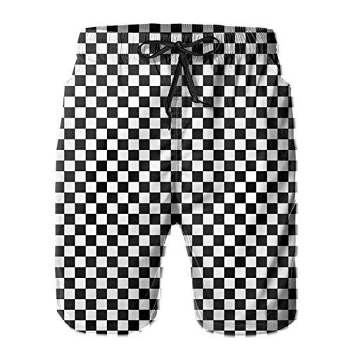 Bañador de playa para hombre, color blanco y negro