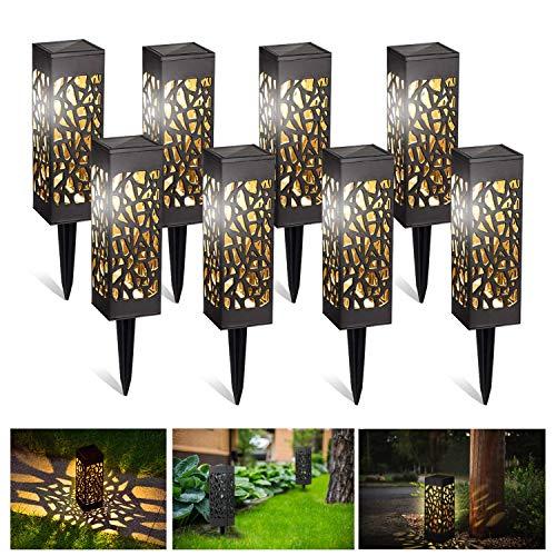 Kefflum Wegeleuchten Solarleuchten Garten LED Solarlampe Gartenleuchte für draußen 8 Stück Warmweiße LED Wasserdicht IP55,600mAh Batterie, Decorative Solarlampe für Terrasse Garten Rasen Hof Gehweg