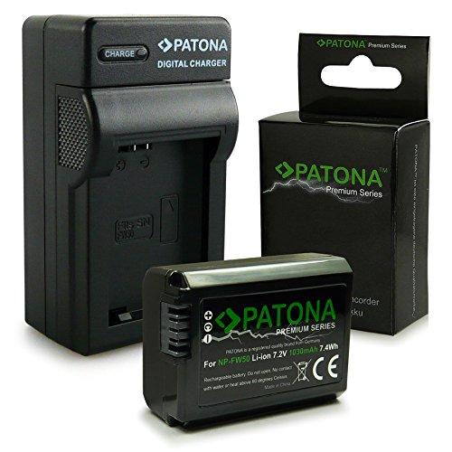 PATONA 3en1 Cargador + Premium Batería NP-FW50 compatible con Sony A35 A37 NEX-3N NEX-5R NEX-6 NEX-F3 Alpha 7 5000 6000