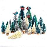 Belupai - Juego de 22 mini árboles de cedro con base de madera para botellas de árboles, plástico, para invierno, nieve, decoración de mesa, árboles, manualidades, fiestas, etc.