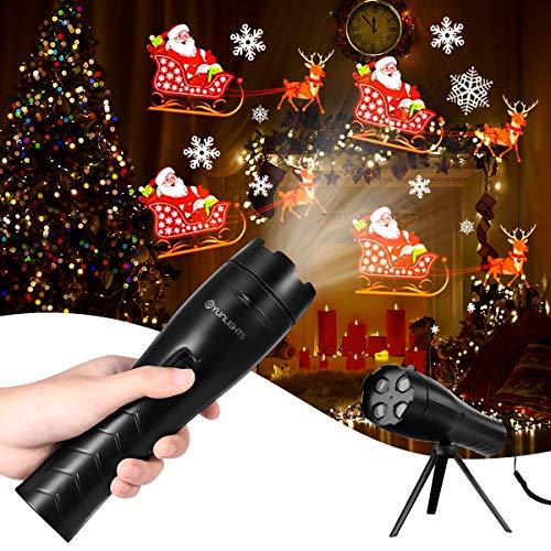 YUNLIGHTS Luces Proyector Navidad LED, Linterna para Niños Navidad Luces Decorativas con 12 Diapositivas y Trípode, Proyector Movimiento Lámparas para Christmas, Fiesta de Cumpleaños, Festivales