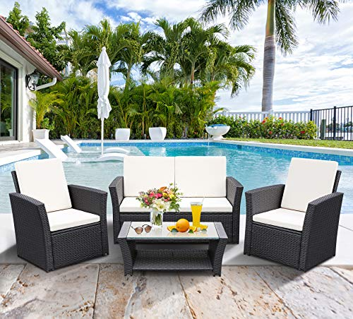 TUSY 5pcs Outdoor Patio Furniture Sets, High Back Rattan Chair Sectional Sofa and Coffee Table,...