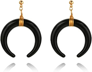 Boho Vintage Acrylic Double Curved Horn Crescent Moon Drop Earring with Around Copper Wire
