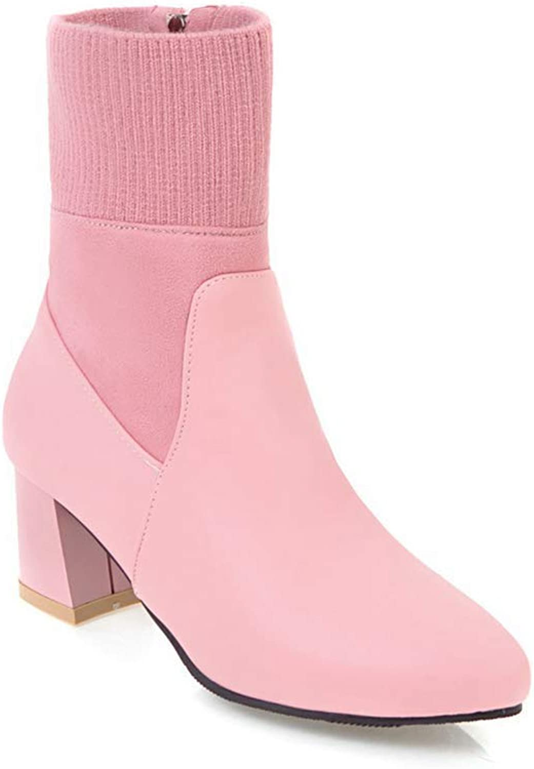 Webb Perkin Women Chunky Square Heel Booties Side Zipper Office Short Boots Lady Ankle Boots Fashion Pointed Toe