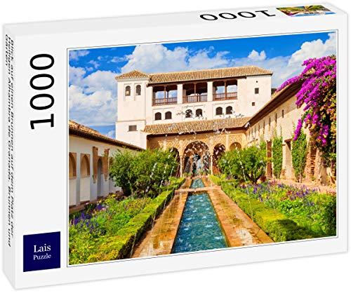 Lais Puzzle Blick auf einen Brunnen auf dem Platz der Heiligen Alhambra de Granada. Brunnen und Gärten 1000 Teile