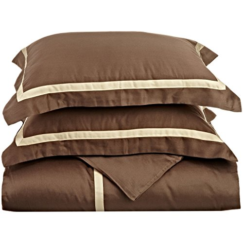 Blue Nile Mills 300-Thread Duvet Cover Set, 100% Long-Staple Cotton, Twin, Mocha/Honey