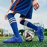 XRDSHY Botas de fútbol para Hombre, jóvenes, Zapatos de Entrenamiento Profesionales, para Exterior, Botas de fútbol para Niños,Blue A-39 EU