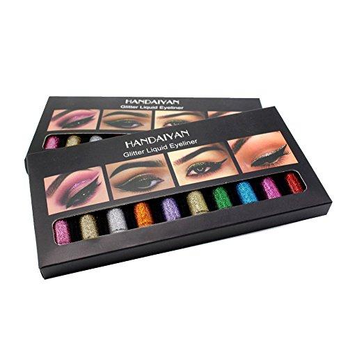 Flüssiger Eyeliner, 10 Farben Glitter Diamond Eye Eyeliner Flüssiges glänzendes metallisches Gel