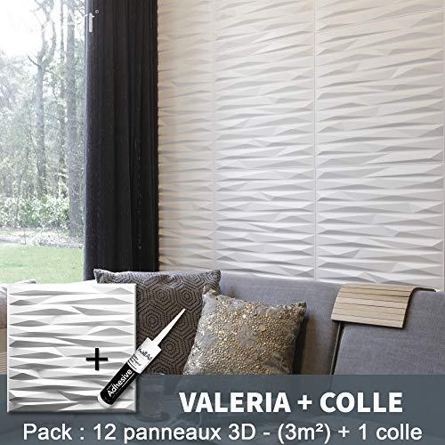 Wandpaneel 3D Valeria für Wanddeko + Leimplatten 3D I 12 Dekoelemente 3qm I Wandverkleidung WallArt Wanddeko Wohnzimmer Schlafzimmer I Wandverkleidung Tapete 3D Wand 3D Wand 3D