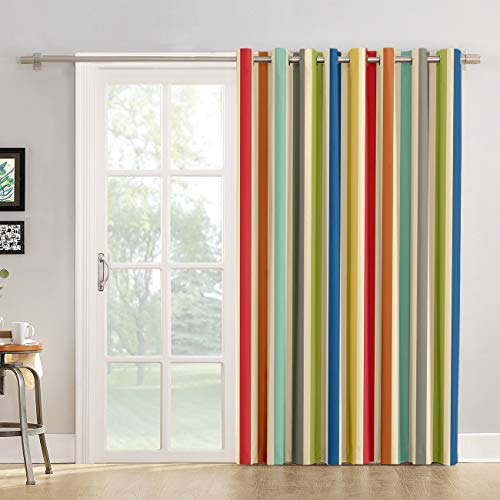 Red Vow Window Treatment Curtain 84 Inch Length - Chic Window Drapes Panel for Living Room Bedroom - Stripe, Colorful Stripes Patterned Polyester Fabric Draperies