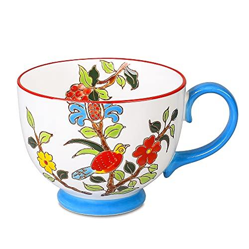 Livfodrm Müslischalen Dessertschalen mit Griffen 15 Unzen Handbemalte Blume Vogel große Kaffeebecher Premium Porzellan Suppenschüssel Vintage Kaffee Tassen (Blau)