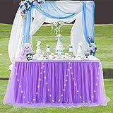 HBBMAGIC Falda de mesa de tul con luces LED, color violeta, tutú para fiestas, decoración para bodas, cumpleaños, candelabros, Navidad (LED de volet, 427 cm x 76 cm)