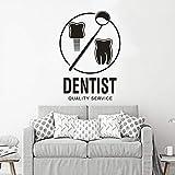 Dentista Logo Vinile Poster da parete Centro di igiene orale Adesivo murale Vinile Clinica dentale Adesivo da parete Negozio dentale Vinile Murale Home Decor Sticker A2 57x82 cm