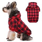 Kuoser Abrigo de perro WInter, clásico a cuadros para perros con agujero para arnés y sombrero, resistente al viento, ropa de invierno para perros pequeños y medianos