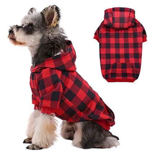 Kuoser Abrigo para perro WInter, clásico a cuadros, chaqueta cálida con agujero para arnés y sombrero, resistente al viento, para perros pequeños y medianos