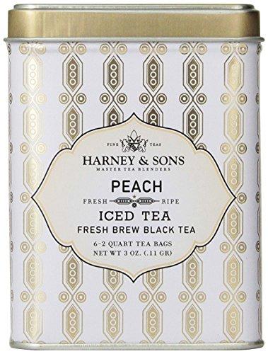 Harney & Sons Peach Iced Tea, Six 2 Qt Teabags