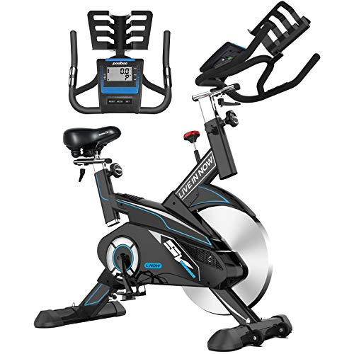 L NOW Indoor Cycling Bike Belt Drive Stationary Bicycle Exercise Bikes with LCD Display for Home Cardio Workout & Fitness with Adjustable Resistance & Seat