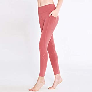 HXLG Yoga Pants Leggings, Women with Pockets Stretchy Workout Tights Pilates Pants (Color : Pink, Size : M)