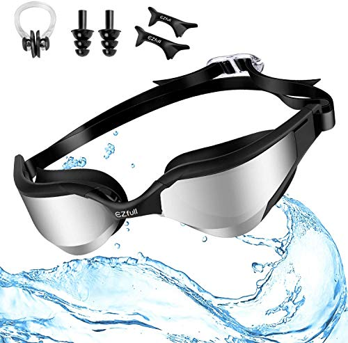 Ezfull Schwimmbrille Fuer Erwachsene mit Antibeschlag und UV Schutz, Einfach zu anpassen, mit Verstellbarer Nasensteg, Nasenklammern, Ohrstöpsel (Schwarz)