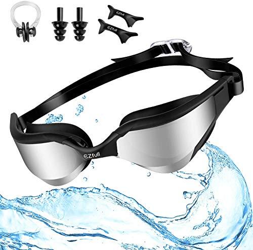 Ezfull Occhialini da Nuoto, Anti-Appannamento Specchio Occhiali da Nuoto Agonistico Protezione UV Impermeabile Confortevole Occhiali da nuoto per Donne, Uomini, Adulti, Adolescenti e Bambini