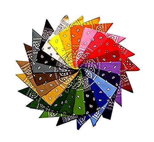 Lot de 12 bandanas motif cachemire 100 % coton, 12 couleurs