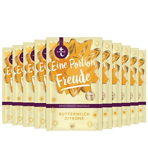 t: by tetesept Badesalz Eine Portion Freude – Hauchfeine Puderkristalle mit Buttermilch und Zitrone - Bade-Geschenk für die Sinne – 10er Pack (10 x 60 g)