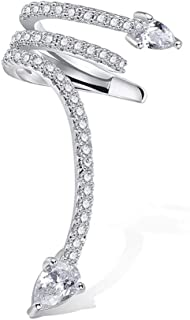 VDX A Snake Climbers Crawler Jewelry Jacket Earrings Sterling Silver CZ Woman's Stud Cuffs Earring Wraps Around Your Ear