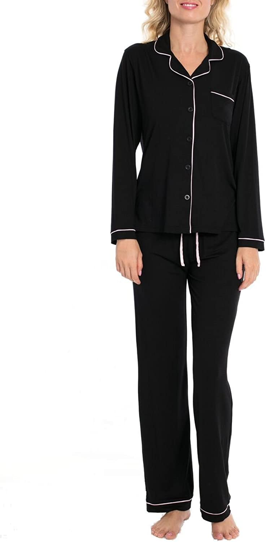 dddffdcacf51c VDRNY Women's 2 Pc Pajama Set Sleepwear Notch Collar Top & Pant Set ...