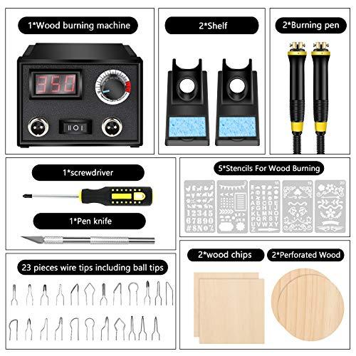 Wood Burning Kit,Wood Burning Tool,Wood Burner Tool,Wood Burning Tips,Pyrography Kit,Wood-Burning Kits Adults Beginners Pen