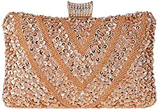Women's Sequin Beaded Evening Bag, Clutch, Wedding, Party, Cocktail Party, Three Colors to Choose from (Color : Orange)