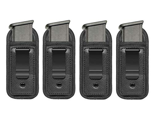 TACwolf New 4pc Universal Magazine Holster IWB 9mm .40 .45 Mag Holster for Glock 19 43 17 Sig 1911 S&W M&P Fits 7 10 15 Round Clips Gun Ammunition Holster Pouch