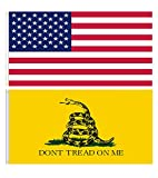 Dont Tread on Me Gadsden and American Flag 3x5 Outdoor Heavy Duty Polyester Tea Party Rattlesnake Don't Tread on Me US Flags Banner Kit (2 pcs)