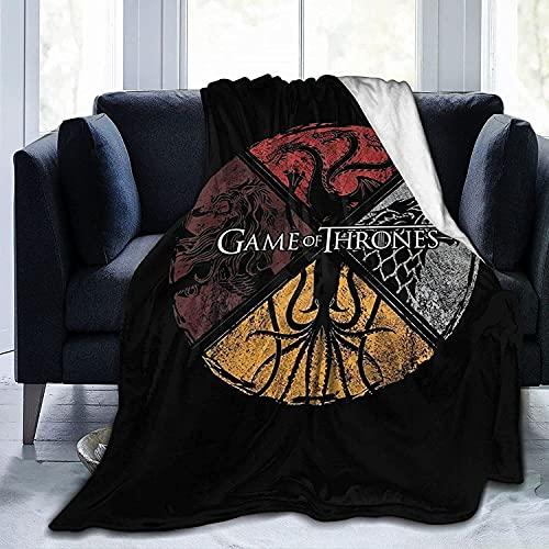 Game of Thrones - Manta de sofá de franela de lujo de Juego de Tronos, gran espesor, adecuada para dormir de habitación con aire acondicionado, 150 x 200 cm (K-3, 60 x 80 pulgadas)