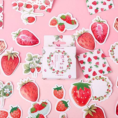 BLOUR 45 unids/Lote Nueva Fruta Rosa Fresa decoración Papel Adhesivo DIY álbum Diario Scrapbooking Etiqueta Adhesiva