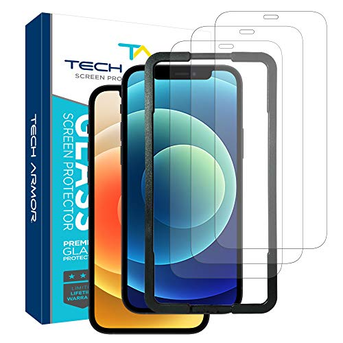 """Tech Armor Ballistic Glass Screen Protector for Apple NEW iPhone 12 (6.1"""") and iPhone 12 Pro (6.1"""") - Case-Friendly Tempered Glass [3-Pack],Haptic Touch Accurate Designed for iPhone 12/iPhone 12 Pro (6.1"""")"""