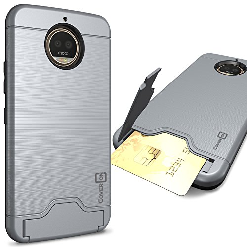 CoverON Credit Card Holder Protective SecureCard Series for Motorola Moto G5S Plus Case, Gunmetal Gray