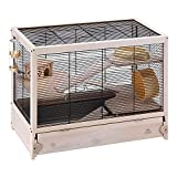 Ferplast Hamsterville Cage en Bois, Structure sur Plusieurs Niveaux pour Hamsters, Maisonnette pour Souris et Petits Rongeurs Noir 60 x 34 x 49 cm