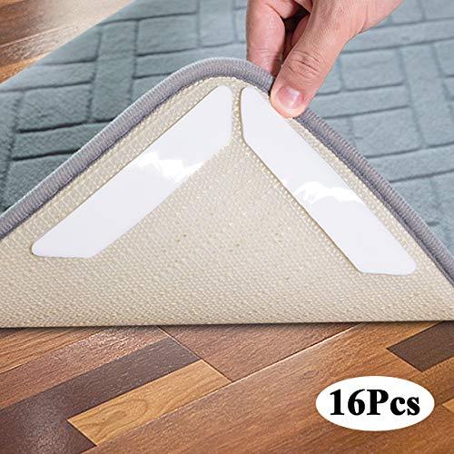 Hosung Antirutschmatte Teppiche, Waschbar Antirutschmatte für Teppich Wiede Rverwendbar Teppichunterlage Teppichstopper - Idealer Rutschschutz für Teppich, 16 Stück