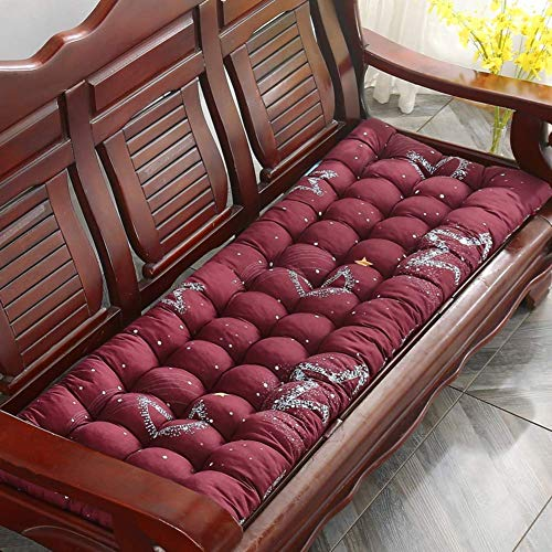DIELUNY Cojín para banco de columpio para interiores y exteriores, acolchado para silla mecedora, almohadillas de asiento largas con lazos de vino tinto 48 x 120 cm