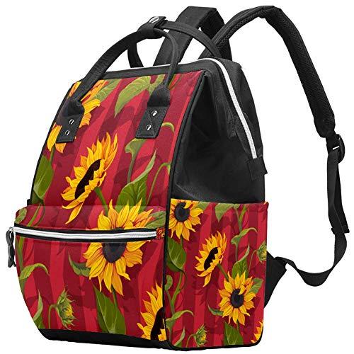 Baby-Wickeltasche, Tagesrucksack, Sonnenblume, multifunktional, für Mama und Papa