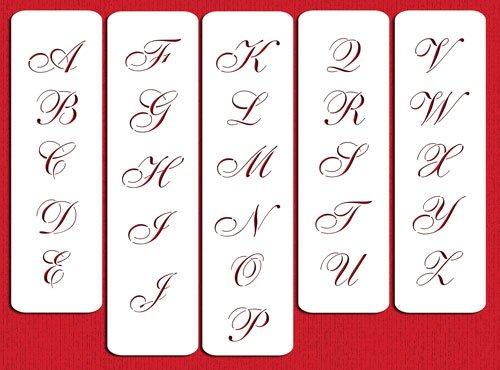Designer Stencils 1.75 Inch Script Monogram foodgrade stencil, 1.75 x 1.4-3.35