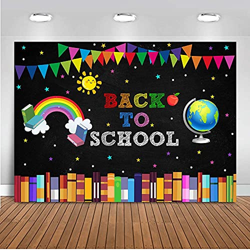 Mocsicka Back to School Backdrop First Day of School Globe Rainbow Books Chalkboard Photo Backdrops Welcome Back to School Party Decorations Banner (7x5ft)