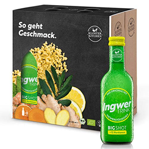 TV Testsieger Ingwer Shots - 6er Pack Kloster Kitchen Bio IngwerTRINK Bigshot 6x 250ml, je 12x Ingwer Shot in EINWEG Glasflaschen, über 40g Ingwerstückchen, bio und vegan