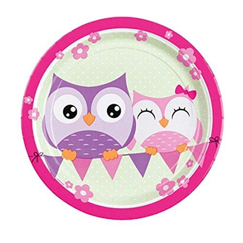 Assiettes jetables Anniversaire d'enfant Hibou 8 Assiettes Chouette 23 cm Assiettes de fête Bol de Repas Oiseau décoration d'ambiance fêtes pour Les Petits Chouettes Vaisselle en Carton